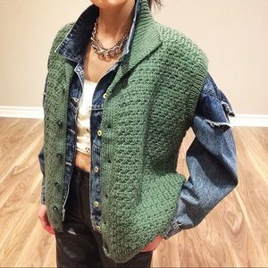 Green chunky knit button down vest